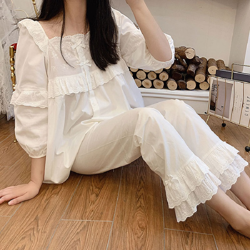 Autumn Pure Cotton Women's Long Sleeve Pajamas Loose Female Sleepwear Suits Royal Sleepwear Home Wear Plus Size