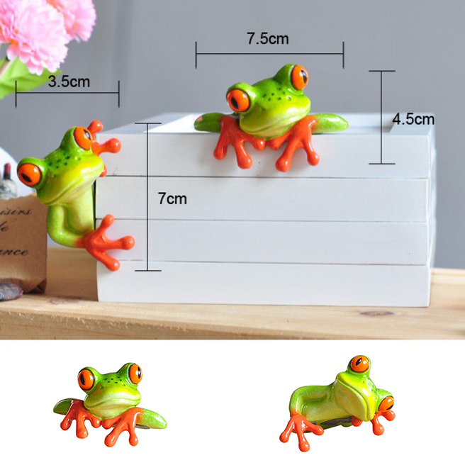 Self Adhesive Resin Frog Figurines Small Frog Decorative Ornament Computer Stickers for Home Office Decor Shelf Cabinet Display thumbnail