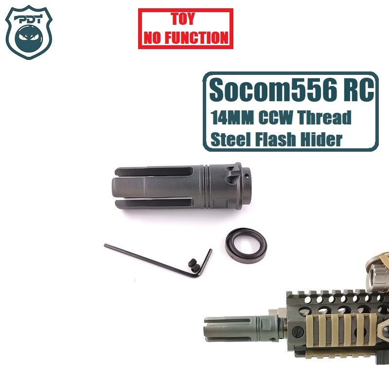 14MM CCW Thread Steel Metal Surefire SF4P Socom 556 RC Flash Hider NO Function Muzzle Device For Gel Ball Blaster Airsoft  AEG