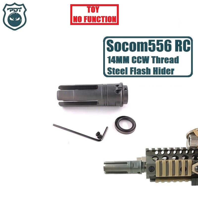 14MM CCW Thread Steel Metal Surefire SF4P Socom 556 RC Flash Hider NO Function Muzzle Device For Gel Ball Blaster Airsoft  AEG