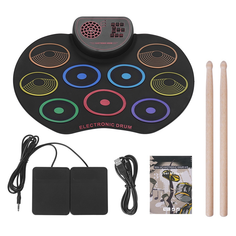 Digital Roll Up Drum Pad Kit Portable Electronic Drum Set USB 9 Drum Pads Built-In Speaker Lithium Battery With Sticks Foot Peda