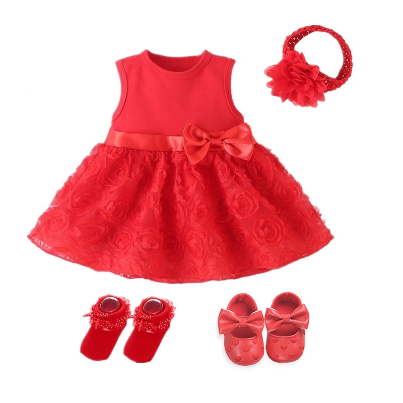 Newborn Baby Girl Dress Baby Dress Baby Clothes 0-3 Months Wedding Party Birthday Outfits 0-1 Years Dress Shoes Set Christening