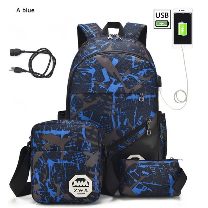 3pcs/set USB Male Backpacks High School Bags For Women 2020 Boys One Shoulder Big Student Travel Bag Men School Backpack Mochila