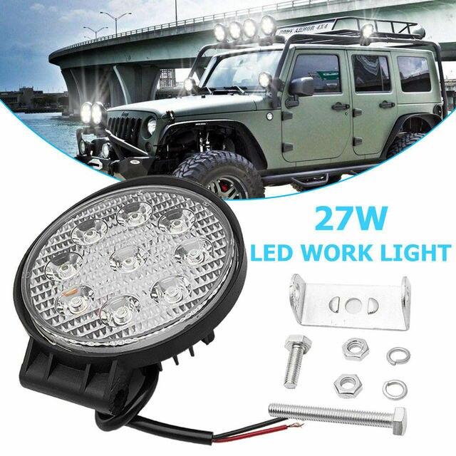 27W LED Work Light Kit Front Fog Lamp Flood Beam Light 6500K Car Accessories For Engineering Truck Trailer Camper Bus SUV