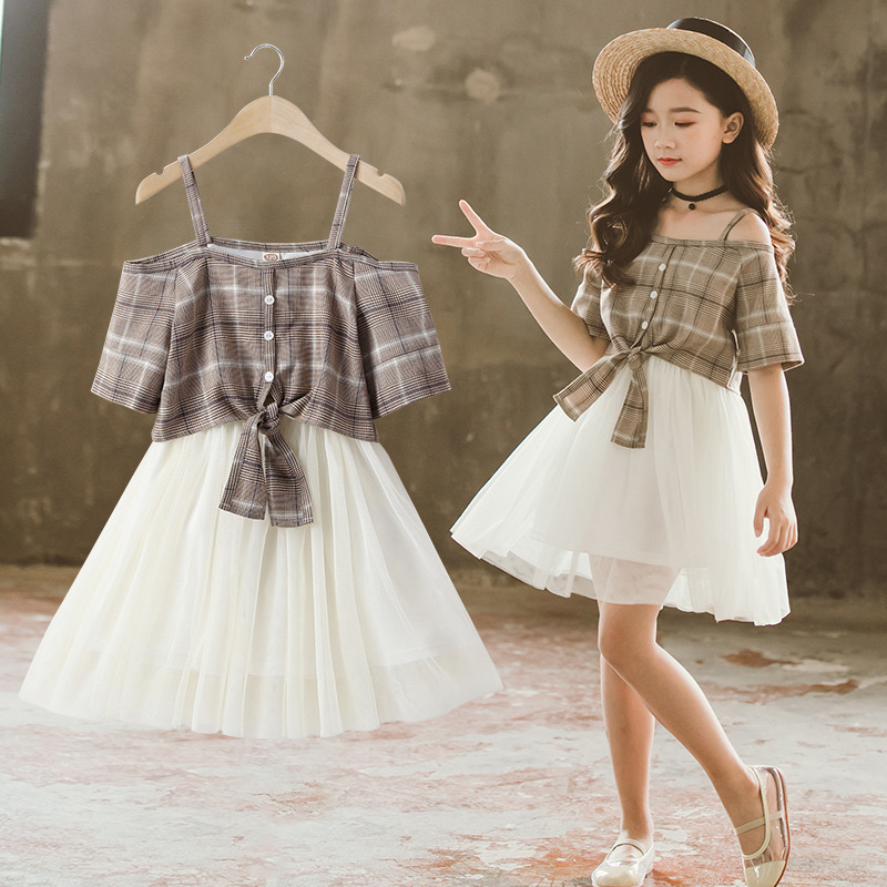 Clothes For Girls Kids Fashion Plaid Sling Dresses Children Summer Mesh Dress Girls Outfits 8 9 10 11 12 13 14 Years