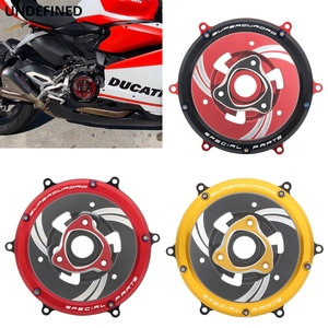 Clutch Cover Protector Guard CNC Motorcycle For Ducati Panigale 1299 11199 959 Corse R S ABS 2012 2013-2019 Red/Black/Gold Clear