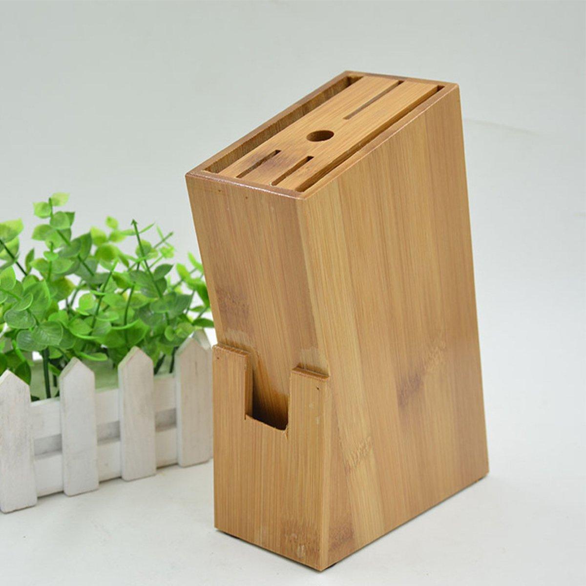 155x63x220mm Bamboo Knife Block Holder Cutlery Storage Box Kitchen Scissors Tools Organizer Kitchen Knives Accessories Shelf