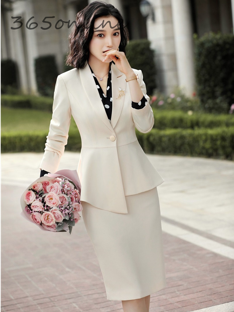 Ladies Office Work Wear Professional Women Business Suits With Skirt And Jackets Coat OL Styles Autumn Winter Blazers Apricot