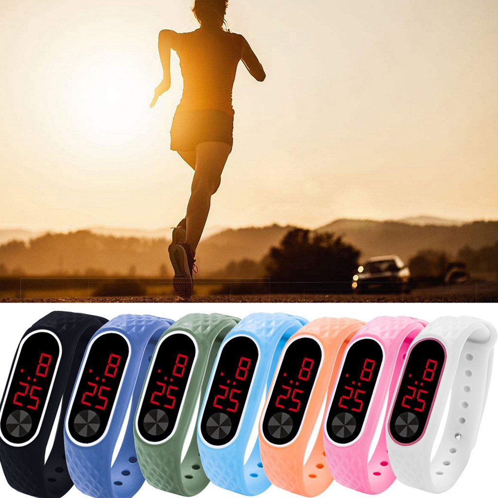 New Sport Watch LED Digital Display Bracelet Watch Children's Students Silica Gel Sports Watch @5