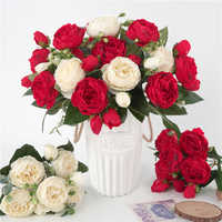 1pc Silk Peony Artificial Flower Bouquet 5 Big Heads and 4 Buds Fake Rose Flowers for Home Room Party Wedding DIY Decor