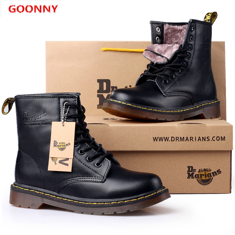 Men Boots Genuine Leather Women Boots Brand Martin Boots Unisex Size Snow Boots Couple Boots Winter Warm Soft Walking Shoes