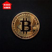 Bitcoin moeda comemorativa banhado a ouro bitcoin moeda collectible bitcoin coleção de arte presente moeda digital presentes de negócios