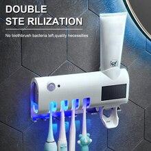 Esterilizador de cepillo de dientes 3 en 1 UV soporte de cepillo de dientes fotocatalizador automático dispensador de pasta de dientes soporte de pasta de dientes