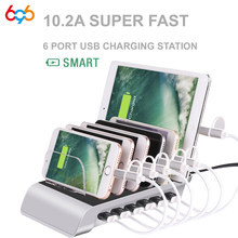 6 Ports USB Charger HUB Desktop Charging Stand 2.4A Multi USB Charger Quick Charge EU Dock Station Power Adapter Charger US AU(China)