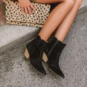 Image 4 - מגפי קרסול נשים סתיו זמש אישה רוכסן תפירת הבוהן מחודדת גבירותיי נשים עקבים שמנמנים מגפיים קצרים נעליים נקבה בתוספת גודל 2020