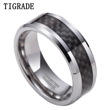 6mm New Black Carbon Fiber Tungsten Carbide Engagement Ring Wedding Band Jewelry