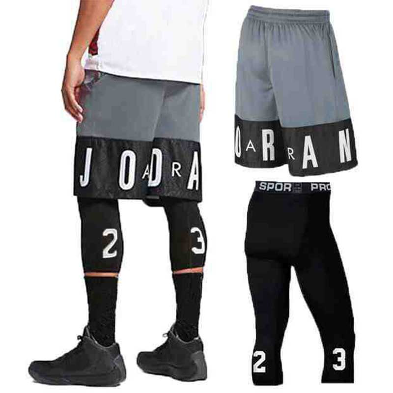Jordan 23 Men's Basketball Suit Sports Gym Fast Dry Fitness Board Shorts + Tights Men's Football Exercise Hiking Running Fitness