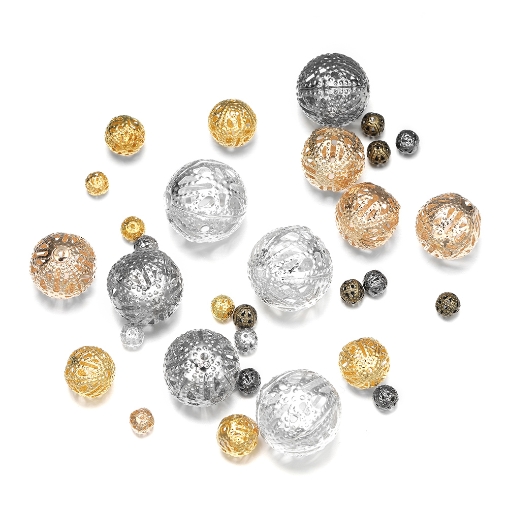 10-200pcs/lot 4-20mm Gold Metal Round Seed Spacer Beads Filigree Hollow Bead For DIY Bracelet Necklace Jewelry Makings Supplies