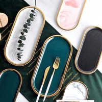Plateaux de rangement nordiques marbre motif céramique Table minimaliste Dessert bijoux bureau bureau Snack plat décoration organisateur