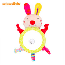 Baby Rattles Plush Stuffed Toy Animals Rabbit Puppy Car Mirror 0-12 months Sensory Toy New 2019 Kawaii Infant Bell Rattles(China)