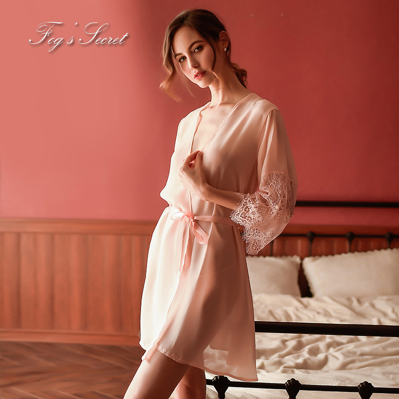 Women Sleepwear Robes Sexy Bathrobe Comfortable Homewear With Waistband Roupao Feminino Transparent Fabric Romantic Lace