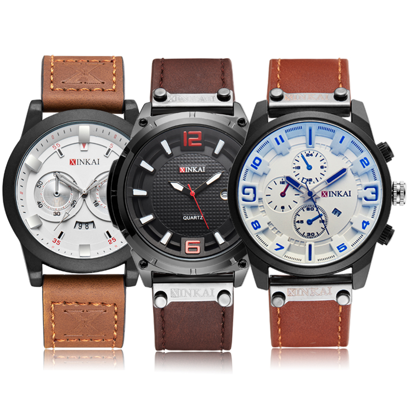 Quartz Watches For Men Stainless Steel Wrist Watch Sports Brown Black Clock Leather Strap Waterproof Relogios Masculino