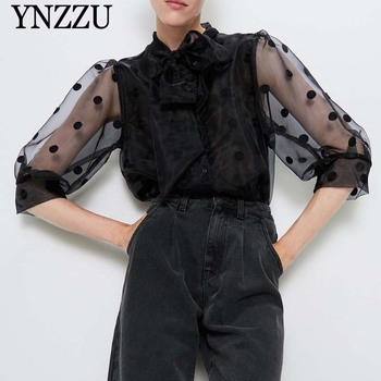 Women polka dot blouse with bow black 2019 New arrival Organza Semi-sheer Female shirt Three quarter sleeve tops YNZZU YT732 fleece dot applique semi sheer top