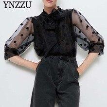 Women polka dot blouse with bow black 2021 New arrival Organza Semi-sheer Female shirt Three quarter sleeve tops YNZZU YT732