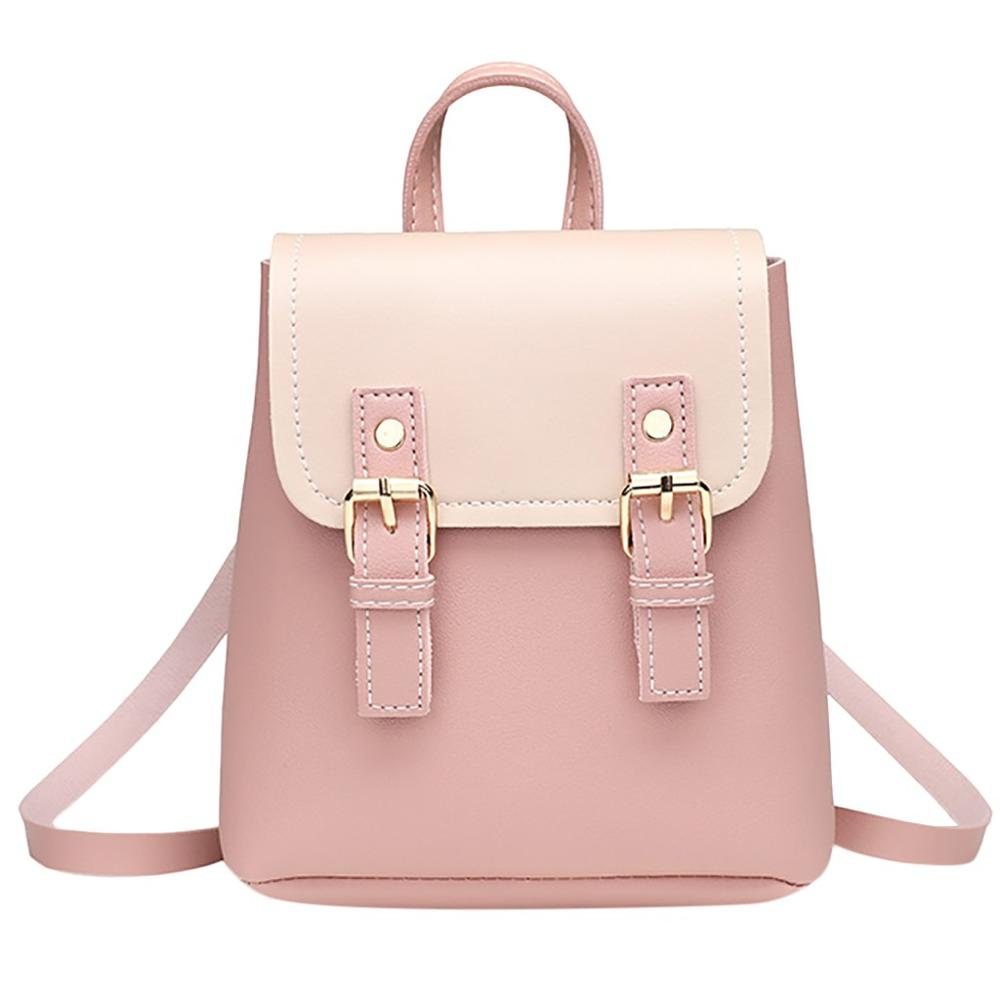 2019 Mini Backpack Women Korean Style PU Leather Shoulder Bag For Teenage Girls Multi-Function Small Backpack Female Phone Pocke