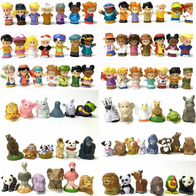 Aléatoire 25 pcs/lot Fisher Little 2inch Mini personnes & animaux mix jouets ouvrier fille princesse dessin animé figurines filles jouets cadeau