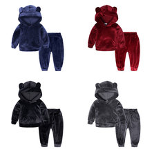 Solid Color Cartoon Bear Kid Clothes Velvet Long Sleeve Hooded Coat Children Boys Clothes Girls Sets Clothing Winter Outfits