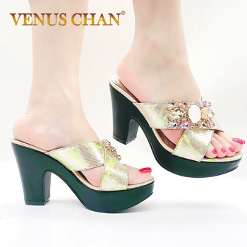 Chic Italian Italy Women Pumps Blue Yellow Gold Black High Heels for Lady Girls Footwear African Heeled Slippers