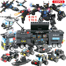 789pcs City Police Station Building Blocks Compatible Legoinglys City SWAT Team Truck Blocks Educational Toy For Boys Children(China)