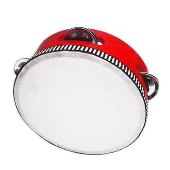 Kids Mini Drum Early Educational Musical Instrument Toys Wooden Hand Cymbals Drum for Children 6 Inches ALS88
