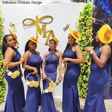 Navy Blue Mermaid Bridesmaid Dresses African Halter 2021 Long Wedding Dress Party Long Backless Vestidos de fiesta de boda