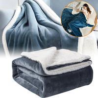 Зимнее кашемировое одеяло, толстое Двухслойное фланелевое одеяло, Фланелевое теплое одеяло из овчины, покрывало для дивана, кровати, постел...