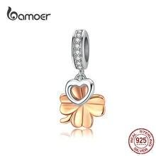 Bamoer – breloque en forme de trèfle porte-bonheur pour femmes, bracelet en serpent, pendentif en forme de cœur, pour collier en argent Sterling, bijoux SCC1238