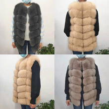 Vest Coats Jacket Natural-Fur-Coat Long-Fur for Female