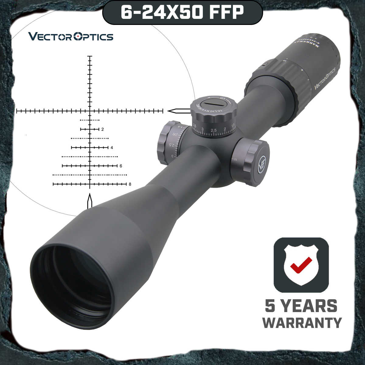 Vector Optics Marksman 6-24x50 Ffp Tactical Riflescope 1/10 Mil Min Focus 10 Yds Eerste Focal Plane Hunting Rifle Scope. 338 Lap