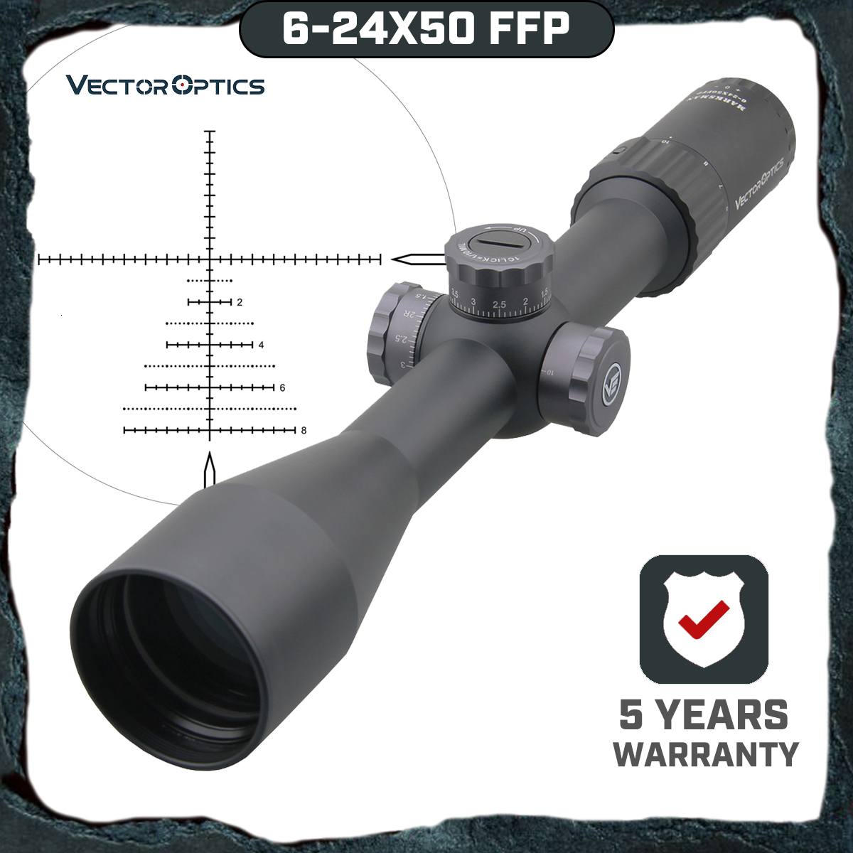 Vector Optics Marksman 6-24x50 FFP Tactical Riflescope 1/10 MIL Min Focus 10 Yds First Focal Plane Hunting Rifle Scope .338 Lap