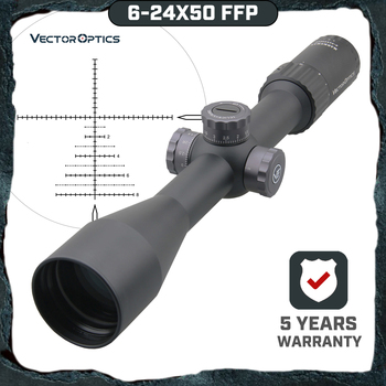 Vector Optics Marksman 6-24x50 FFP Tactical Riflescope 1/10 MIL Min Focus 10 Yds First Focal Plane Hunting Rifle Scope .338 Lap tactical 6 24x50 optic rifle scope ergonomic parallax adjustment ring and integral sun shade for hunting gs1 0150