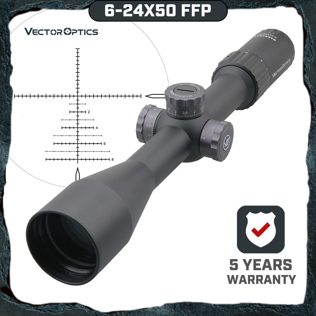 Vektör optik Marksman 6-24x50 FFP taktik tüfek 1/10 MIL Min odak 10 Yds İlk odak düzlemi avcılık tüfek kapsamı. 338 tur