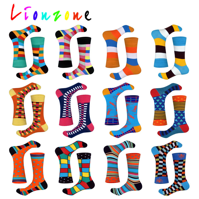 LIONZONE 2018 New Arrived Happy Socks Unisex Men Women Striped Lattice Dot Design Colorful Cotton Socks Leisure Socks Funny Gift