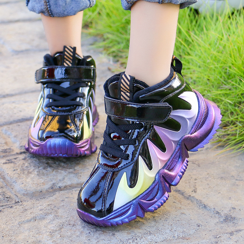 ULKNN Children's Winter Plus Velvet Sneakers Boys Help Cotton-padded Shoes 2020 New Girls Fashion Casual Wild Student Shoes