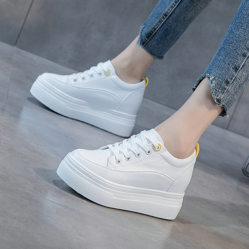 Women low-top shoes leather sneakers autumn and winter models breathable thick bottom heightened loose cake casual shoes ZZ-185