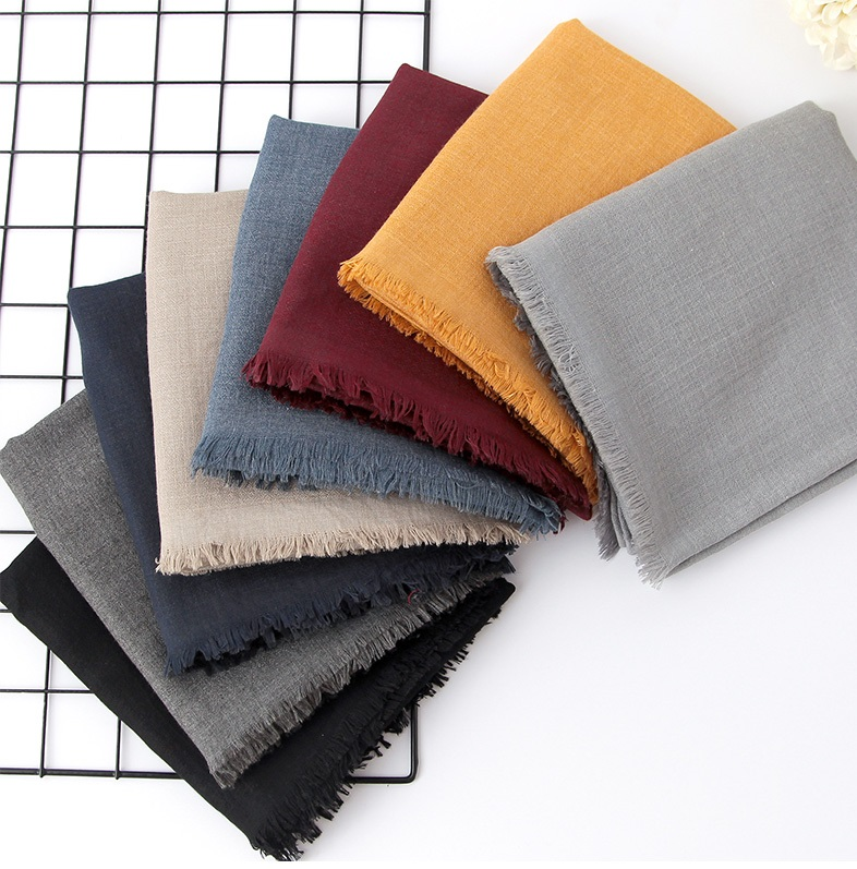 Scarf Pure Color Cotton Linen Comfortable Shawl
