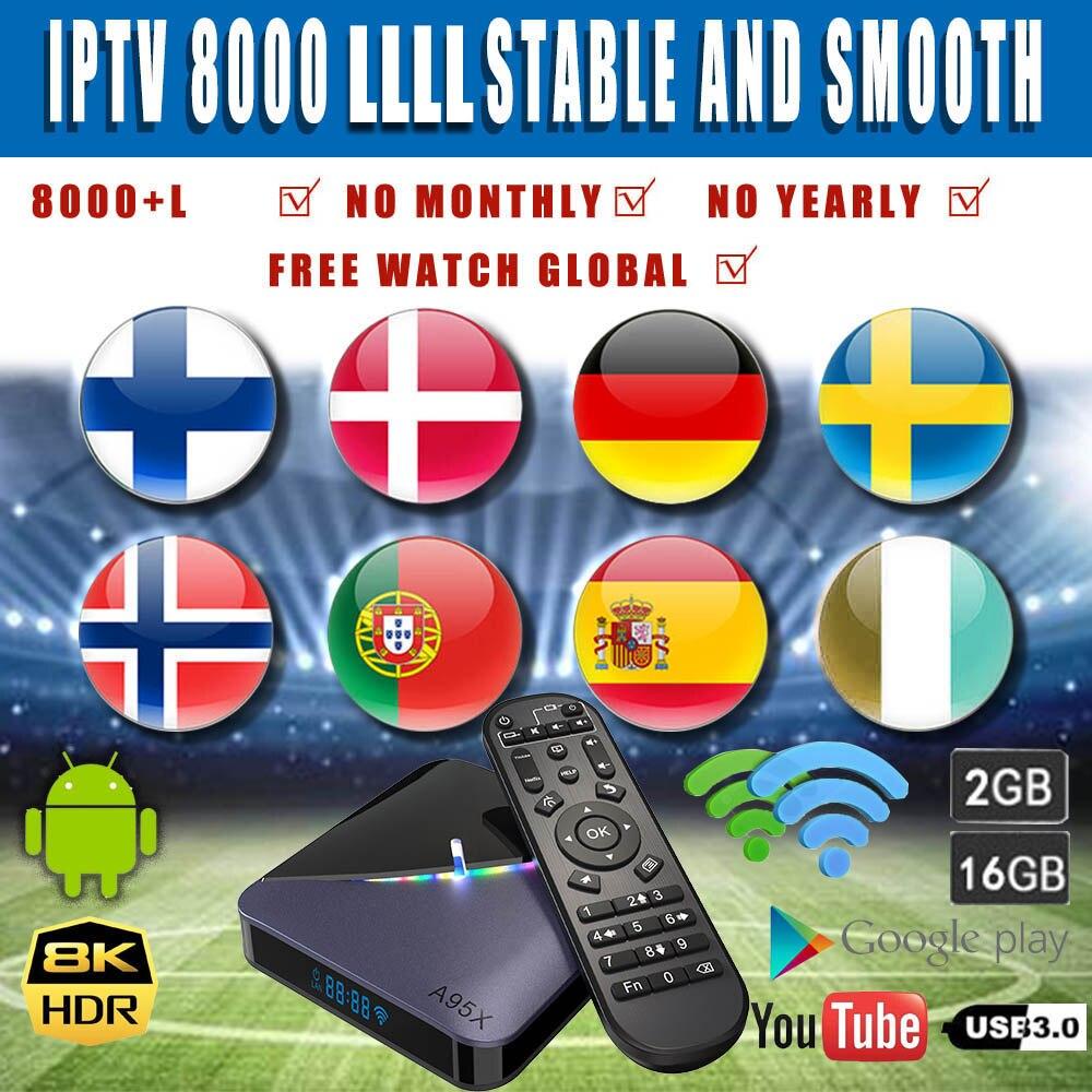 Android 9.0 Tv, pudełko World IPTV 7500 global A95X F3 światło RGB wsparcie Plex Media Server WIFI podwójna sieć 2.5/5G 2GB dekoder Tv Bo