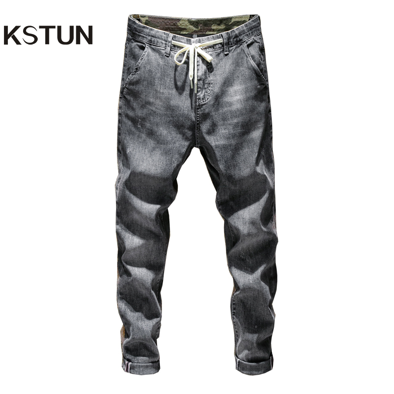 KSTUN Mens Jeans Skinny Grey Elasticity Drawstring Relaxed Tapered Denim Pants Casual Joggers Pants Streetwear Male Trousers