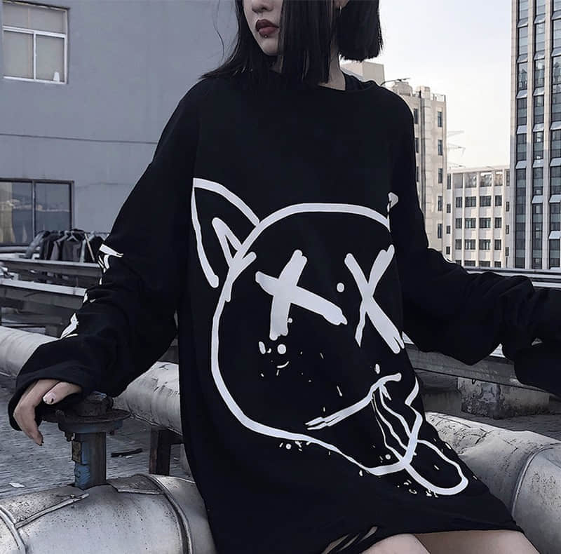 NiceMix  2019 Fashion Streetwear Print Lady Sweatshirts Women O-Neck Loose Clothes Female Autumn Hip Hop Casual Pullovers