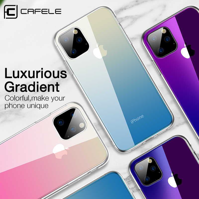 CAFELE Gradient Glass Case for iPhone 11 pro max Luxury Soft Edge + Glass Back Case for Apple iPhone 11 pro Anti-scratch
